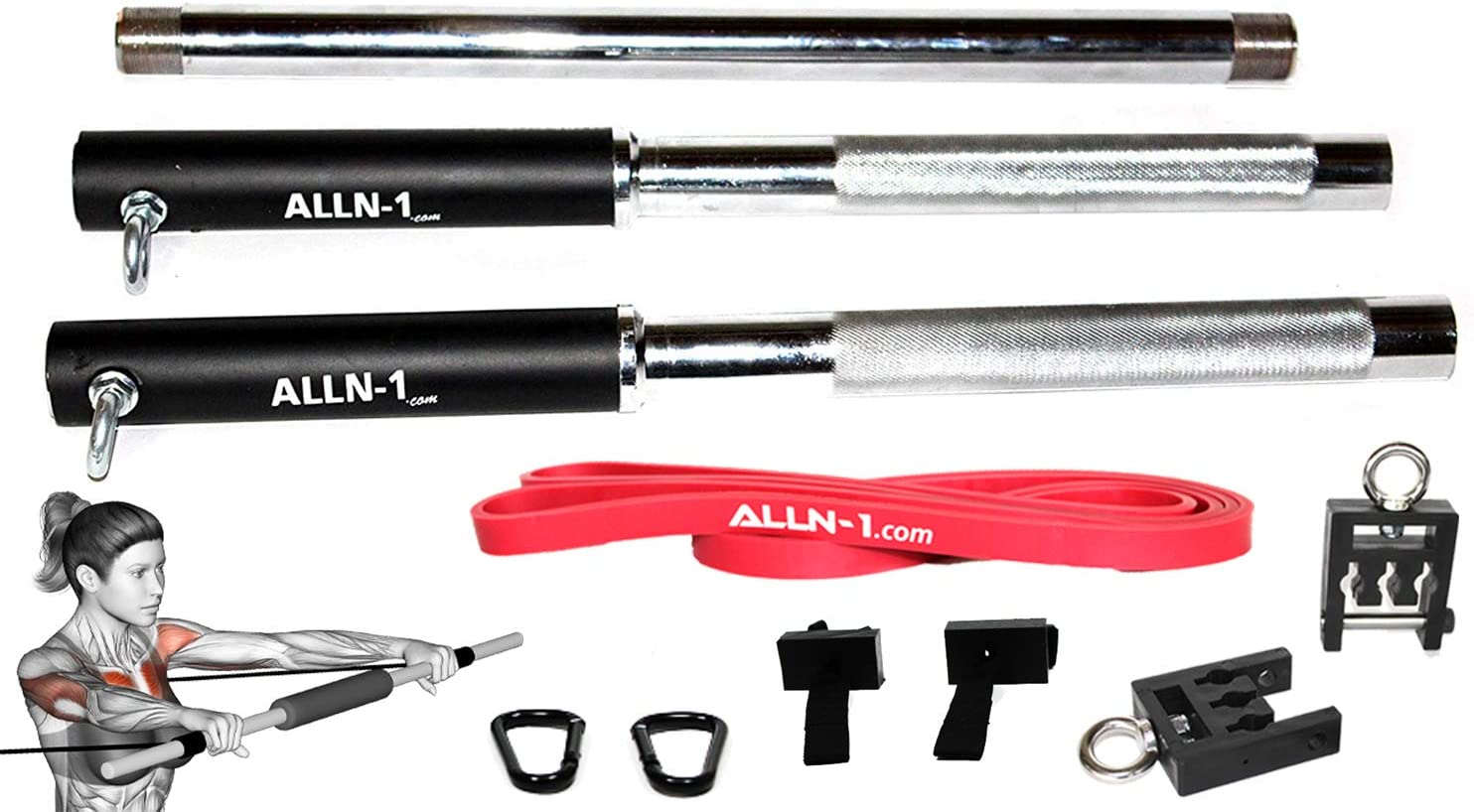 ALLN-1 Multi-Function Olympic Resistance Band Bar Training Set